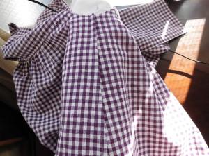紫ギンガム脇縫い