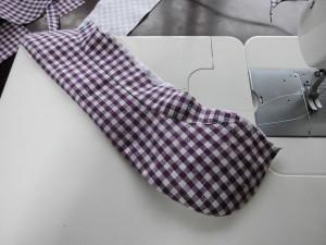 紫ギンガム衿